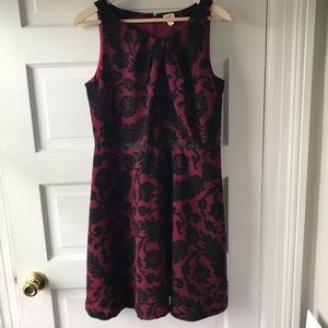 LOFT Mulberry Floral Toile Sleeveless Dress